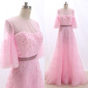 Half Sleeves Tulle Pink Prom Dress Pageant Gown